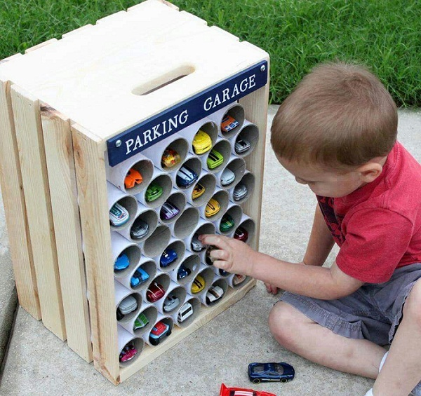 Storage for toys with Toilet Paper Rolls
