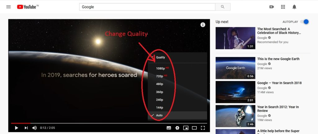 How to Change Quality of YouTube Video and Save the Data Quality