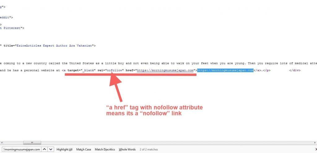 Nofollow Backlink Example - Ezine Articles