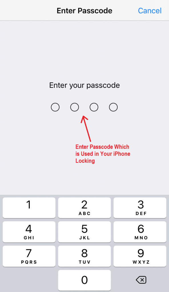 Enter Passcode Which is Used in Your iPhone Locking - iPhone Hanging Solution