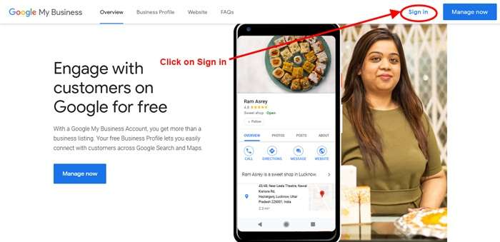 Go to Google My Business - Unpublish Google Business Website