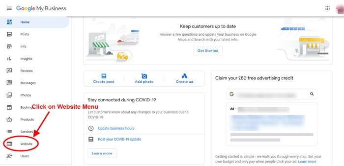 Click on Website Menu - Unpublish Google Business Website