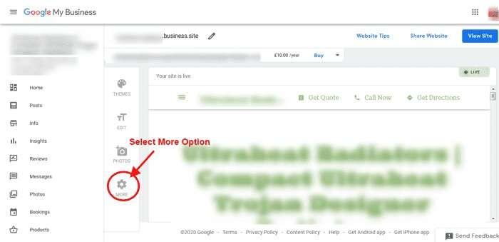 Select More Option - Unpublish Google Business Website