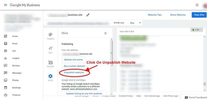 Click On Unpublish Website - Unpublish Google Business Website
