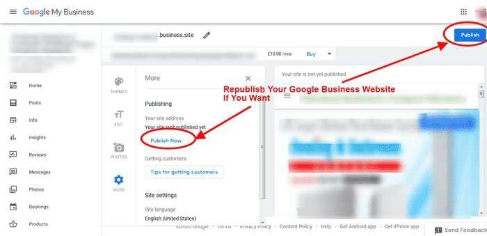 Republish Google Business Website