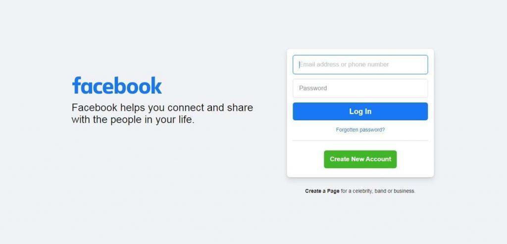 Step 1 Go to Facebook - Restore Facebook Deleted Post