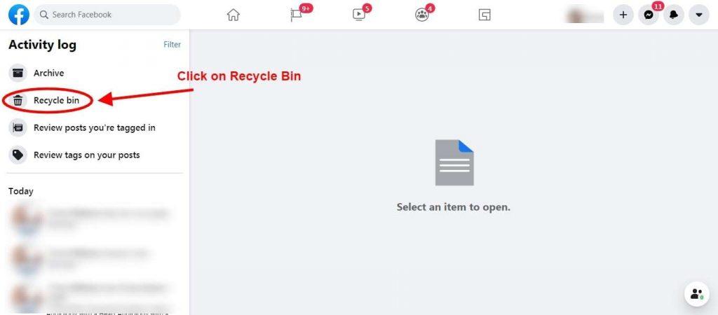 Step 4 Choose Recycle Bin - Restore Facebook Deleted Post