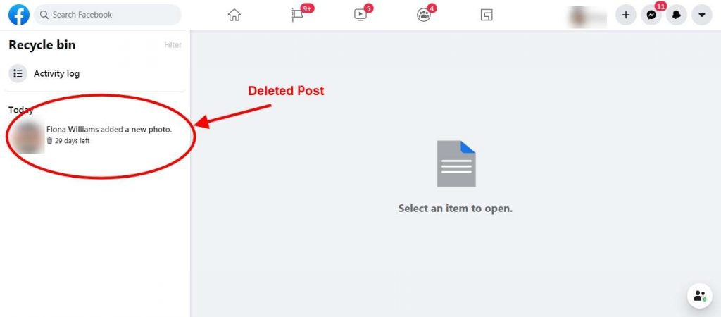 Step 5 All the Deleted Posts Available - Restore Facebook Deleted Post